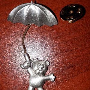 JJ Bear holding a Umbrella Pin brooch Rare Vintage